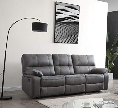 Betsy Furniture Microfiber Reclining Sofa Couch Set Living Room Set 8007 (Grey, Sofa)