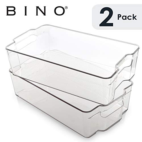 BINO Stackable Plastic Organizer Storage Bins, X-Large - 2 Pack -...