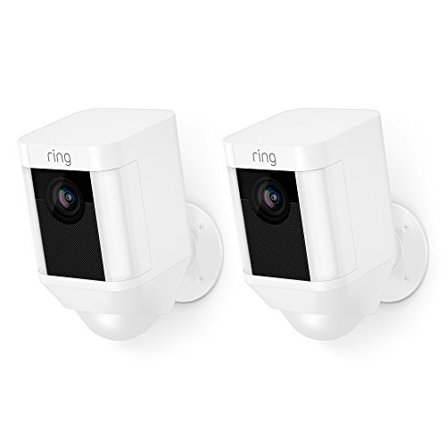 Ring Spotlight Cam Battery HD Security Camera with Built Two-Way Talk and a Siren Alarm, White, Works with Alexa - 2-Pack
