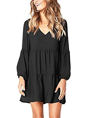 Deep v neckline with lantern long sleeve/short sleeve/sleevelesss, super sexy, fashionable and elegant. Pleated loose swing dress with tunic length, solid color, ruffle, simple and plain, tiered dress, can be easily dress up and dress down. Above the...
