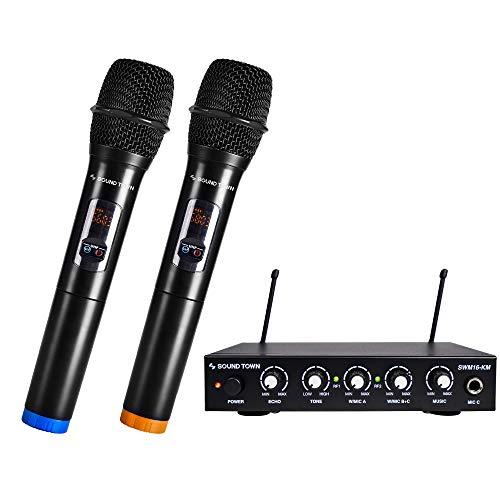Sound Town UHF 16 Channels Karaoke Wireless Microphone System with Metal Mixer, 2 Handheld Microphones, for Church, School, Wedding, Meeting, Karaoke (SWM16-KM)