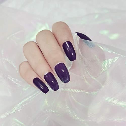 336pcs Solid Colors Matte Acrylic Square False Nails Full Cover Ballerinal Fake Nails Tips Natural Medium False Nail with a Crystal Nail File for Nail Art Salon DIY Decoration(Dark purple)