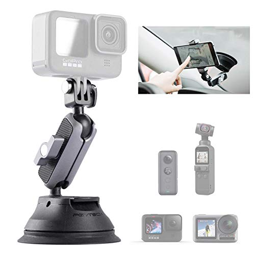 PGYTECH Supporto a ventosa per Gopro 9, Gopro 8, Gopro MAX, DJI OSMO Action, OSMO Pocket, Insta360 ONE X, ONE R, ONE, action cam …