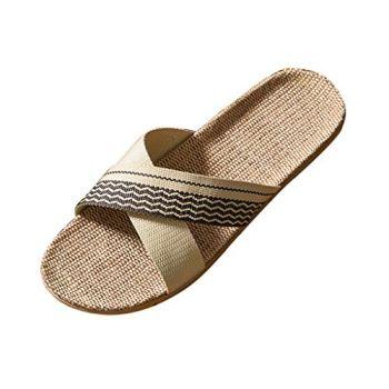 Yowablo Pantoufles Hommes Summer Home Couple Indoor Slippers Linen Cross Daily Slippers (45,Homme-Café)