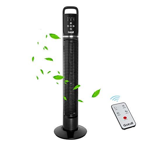 Gotoll Ventilateur Colonne Télécommande, Ventilateur Tour Oscillation Silencieux, Affichage LED & Minuterie, 3 Vitesses & 3 Modes - Hauteur 81cm