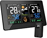 MOHOO Weather Station Wireless Home Weather Clock Indoor Outdoor Thermometer, Large Display Forecast Station with Adjustable Brightness and Barometer
