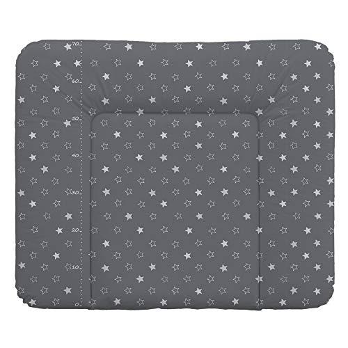 Wickelauflage Wickelunterlage Wickeltischauflage 70x75 cm Abwaschbar - Dunkelgrau Sterne 70 x 75 cm