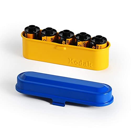 KODAK フィルムケース - 35mmフィルム5ロール用 - コンパクトレトロスチールケース フィルムロールの分類と保護用 (ブルートップ/イエローボディ)