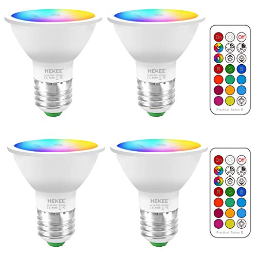LED Light Bulbs 40 Watt Equivalent Color Changing E26 Screw 45, 12 Colors Dimmable Warm White 2700K RGB LED Spot Light Bulb with 5W Remote Control,(Pack of 4)