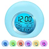 Kids Alarm Clock Wake Up Easy Setting Digital Clock for Boys Girls, 7 Colors Changing LED Light Large Display Time/Date/Temp/Alarm with Snooze, Bedside Clock, Night Light Clock - Best Gift for Kids