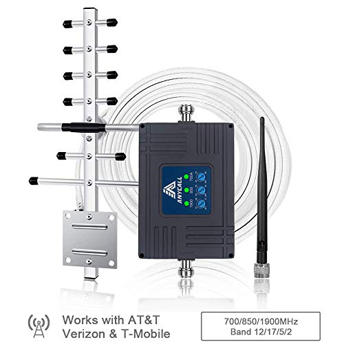 Cell Phone Signal Booster for Home and Office - Multiple Band 700/850/1900MHz Band 12/17/5/2 Cellular Repeater - Enhance 2G/3G Voice Calls Signal and 4G Data Signal for AT&T T-Mobile