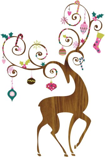 RoomMates Ornamental Reindeer Peel and Stick Giant Wall Decals