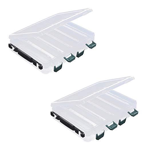 inherited 2pcs Scatola da Pesca, scatole di plastica da Pesca a Doppia Faccia per Esche Artificiali con 10 Scomparti per Kit Accessori da Pesca(20 * 17 * 4.5cm)