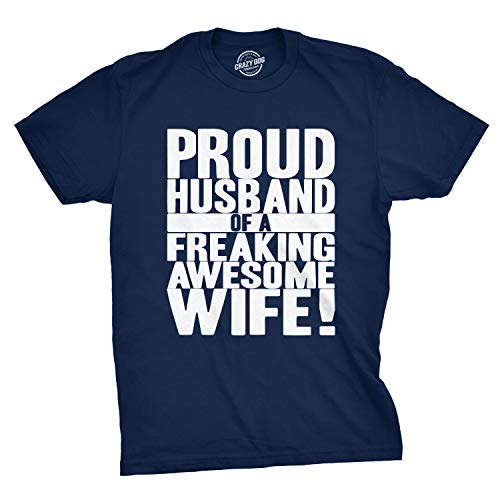 Crazy Dog T-Shirts Mens Proud Husband of a Freaking Awesome Wife Funny Valentines Day T Shirt (Navy) - M