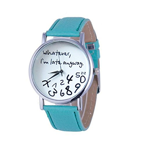Oliviavan, 1PC Hot Women Leather Watch Whatever I am Late Anyway Letter Watches Black Sample low-key style (Green)