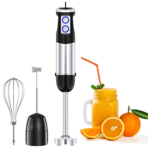Cocoda Mixeur Plongeant, 3 en 1 Mixeur Multifonction (Hachoir, Mousseur à Lait et Fouet), Fonction Turbo & 6 Vitesse, 500W Mixer Plongeur en Acier Inoxidable pour Faire des Smoothies, des Soupes etc
