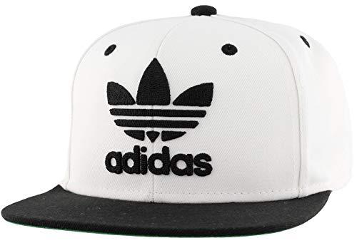 adidas Originals Men's Trefoil Chain Flatbrim Snapback Cap, White/Black, ONE SIZE