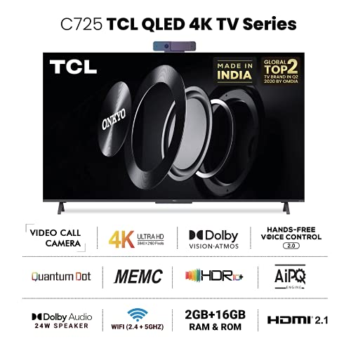 417seH6BTdS TCL 163.9 (65 inches) 4K Extremely HD Licensed Android Good QLED TV 65C725 (Black) (2021 Mannequin) | With Video Name Digicam