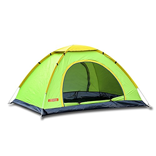 TSWA Pop Up Camping Tent Automatic & Instant Setup Dome Waterproof Tents for Backpacking 3-4 Person Portable Pack for Hiking Shelters (Green)