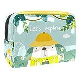 Bolsa de maquillaje portátil con cremallera bolsa de aseo de viaje para mujeres práctico almacenamiento cosmético bolsa Explorer Bear