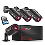ANRAN 4 Channel 1080P Home Security Camera System 4ch CCTV DVR Recorder with 1TB Hard Drive 4X Full HD 1080P Surveillance Video Bullet Outdoor Cameras IR Night Vision, Motion Alert Easy Remote Access