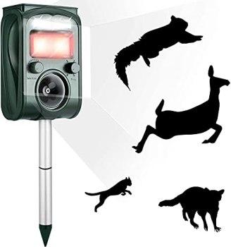 Répulsif Solaire à ultrasons 2021 - avec LED Clignotantes et Alarme sonore - Rechargeable et étanche - Répulsif pour Animaux pour Le Jardin - 5 fréquences réglables