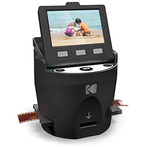 KODAK SCANZA Digital Film & Slide Scanner - Converts 35mm, 126, 110, Super 8 & 8mm Film Negatives & Slides to JPEG - Includes Large Tilt-Up 3.5' LCD, Easy-Load Film Inserts, Adapters & More