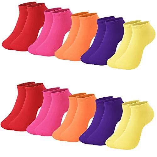 L&K 10 paia II Calze da Uomo Donna sportive Sneaker Calzini Cotone comodo Unisex 2103 39-42