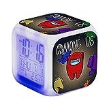 Ourine Among Us Game Figure Luminoso LED Reloj despertador, colorido flash luz de escritorio para niños, colorido cambio de color cuadrado