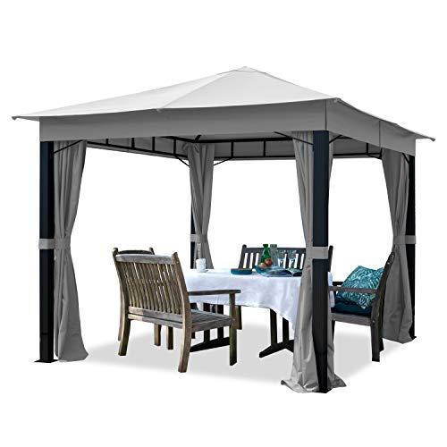 TOOLPORT Gartenpavillon 3x3m ALU Premium 280g/m² Dachplane wasserdicht Pavillon 4 Seitenteile Gartenzelt hellgrau 9x9cm Profil