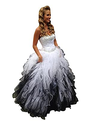 Stunning Sweetheart Embellished Beaded Ruffled Ball Gowns Lace up Long Wedding Dresses For Wedding Bride SIZE COLOE:Please read the OUR SIZE CHART image on the left carefully before you order the dress from us,All our dresses are Made-To-Order. Pleas...