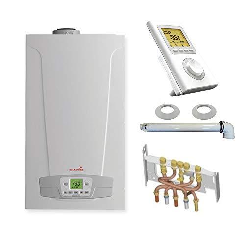 Chaudière Gaz Condensation Initia + Compact Chappée 25 kW Complète (Ventouse + Douilles + Dosseret) avec Thermostat Filaire