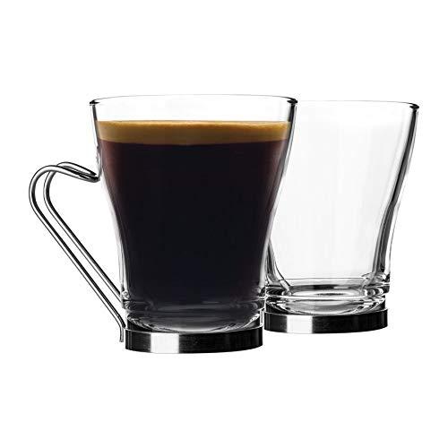 Bormioli Rocco 12 pezzi Oslo Tea Coffee Latte Set di bicchieri da tè e caffè – tazze da cappuccino in vetro temperato – manico in acciaio inox – 220 ml