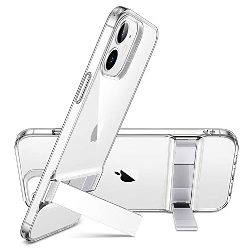 ESR iPhone 12 ケース/iPhone 12 Pro ケース 6.1 inch 2020 新型 メタルキックスタンド 透明 カバー [縦置...