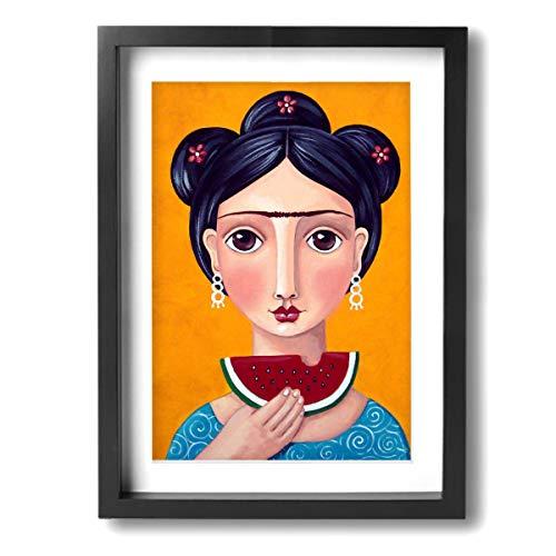 Pintura C Frida Kahlo Mexicana Folk Arte de Pared Pinturas Arte Enmarcado para Salón, Dormitorio, Oficina Decoración 12 x 16 Pulgadas, Madera, Negro, Talla única