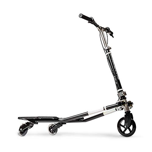 MSKI Semi Best Patented 3 Wheel Tilting Scooters, Swing Wiggle, Handlebar Detachable, Self Propelling Speeder, Outdoor Sports, 3 Step Height Adjustable, Drifting Scooter, Over 6 Years Old (Black)
