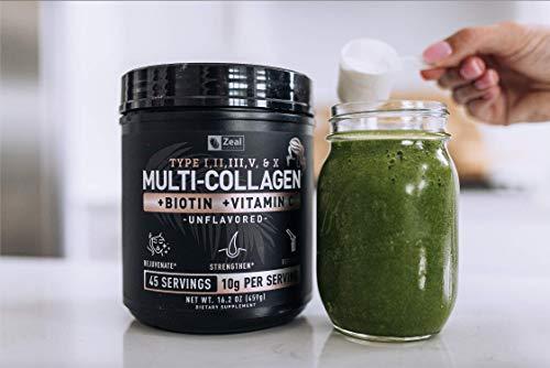 Premium Collagen Peptides Powder (1, 2, 3, 5 & 10) Multi Collagen Protein + Vitamin C + Biotin + Hyaluronic Acid - #1 Collagen Powder for Women Hair Skin and Nails - Marine, Bovine, Chicken & Eggshell 9