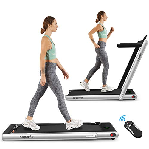 Goplus 2 in 1 Folding Treadmill, 2.25HP Under Desk Electric Treadmill, Installation-Free, with Bluetooth Speaker, Remote Control and LED Display, Walking Jogging Machine for Home/Office Use (Silver)