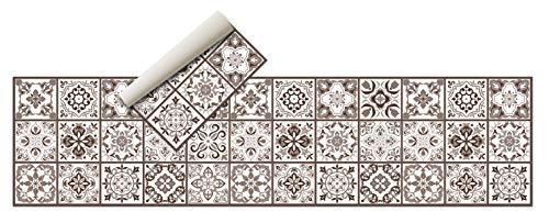 Tappeto Vinile - ( 240x60 cm Marrone ) - Tappeto cucina , bagno, tappeti cucina - Antiscivolo - In gomma spugna e fondo in PVC,