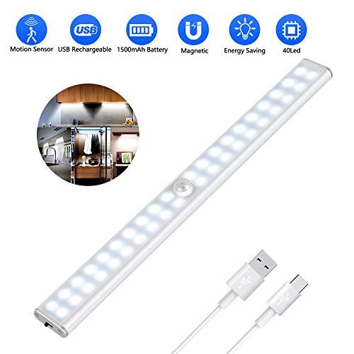 Luce Armadio 40 LED, 4 Modalit, USB Ricaricabile, Wireless Luce Notturna con Striscia Magnetica, Led Guardaroba con Sensore di Movimento per Cucina, Scala, Corridoio ed Emergenze
