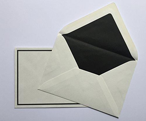 25 buste per lettera di condoglianze, in carta lino, con cornice nera, C6 = 162 X 114 mm, con fodera di seta nera