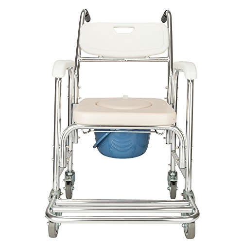SSLine Aluminum Shower Chair/Bedside Commode for Toilet,Portable Toilet Padded Seat Transfer Bench,Portable Heavy Duty Bidet Shower Bath Chair for Elder Disabled People Pregnant Women (Type-3)