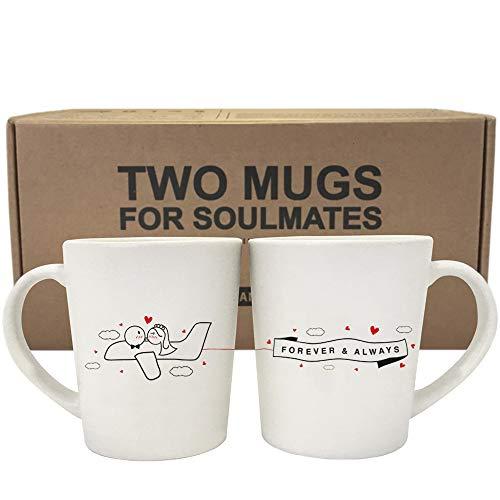 BOLDLOFT Forever & Always Wedding Couple Coffee Mugs for...