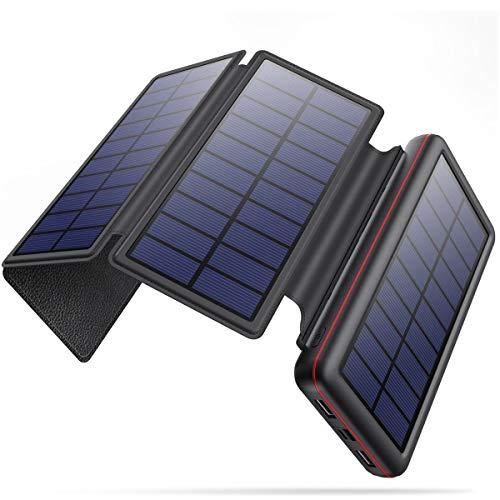 iPosible Chargeur Solaire 26800mAh Imperméable Batterie Externe avec 4 Panneaux Solaires Pliables...