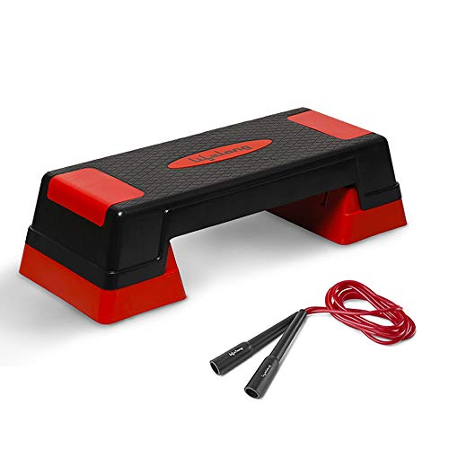 Lifelong Step Platform Aerobic Stepper Bench with Screw-Free Design Skipping Rope, Workout Deck with...