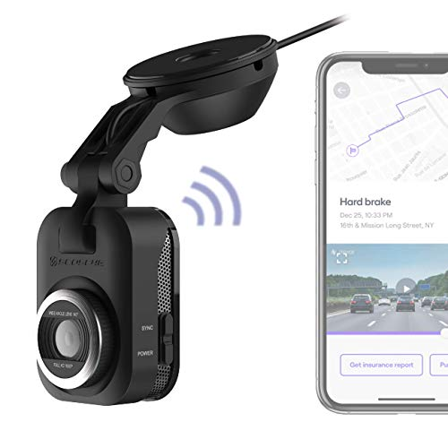 SCOSCHE NEXS11064-ET Full HD Smart Dash Cam Powered by Nexar with Suction Cup Mount and 64GB Micro-SD Card