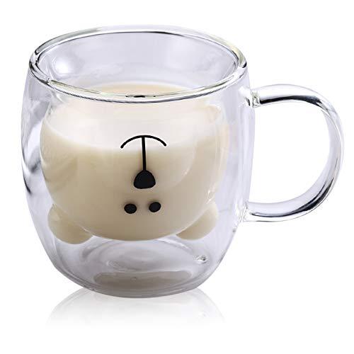 Xinqin Carina Tazza di caffè Tazza da tè,Carino Birra Tazze Orso,Tazza di caffè Doppia Parete, Bicchieri Animale Carino tè Latte Coppe,Tazza di caffè Resistente al Calore,Come Regalo di Compleanno