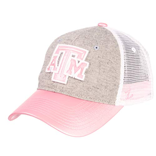 NCAA Zephyr Texas A&M Aggies womens Sasha Relaxed Hat, Adjustable, White/Pink/Grey