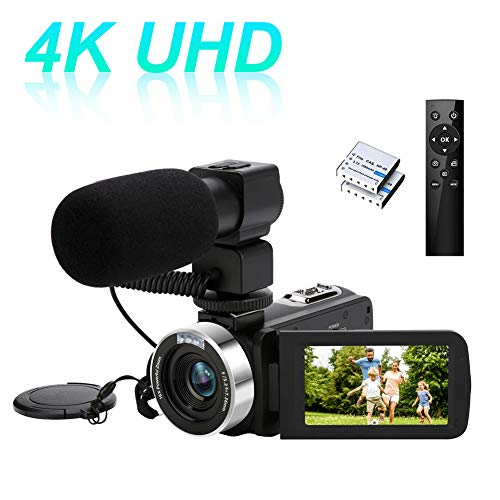 [Upgrades] Video Camera Camcorder, 4K 30MP Ultra HD Digital Camcorder Camera for Vlogging, IR Night Vision WiFi funtion 18X Digital Zoom with Microphone and 2 Batteries