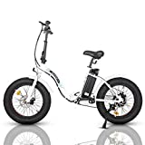 "ECOTRIC Powerful 500W Folding Electric Bicycle 20"" Fat Tire Alloy Frame 36V/12.5AH Lithium Battery Ebike Rear Motor LED Display (White)"